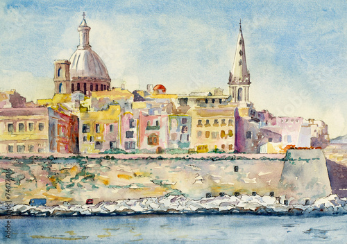 A watercolor painting of Valletta, Malta Plakát