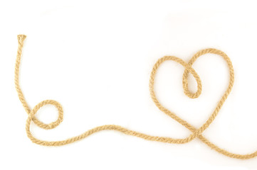 twine bent in the form of heart