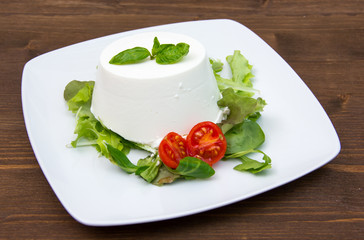 Cottage cheese on the plate on wooden table