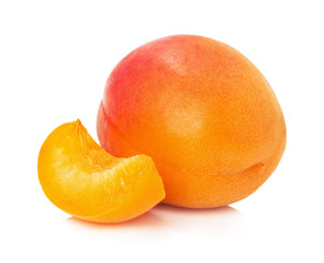 juicy apricot isolated on the white background