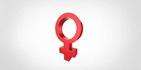3D red Woman symbol on a plain background