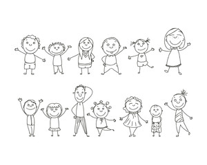 Vector Illustration of Hand Drawn Kids