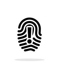 Attention sign on fingerprint icon on white background.