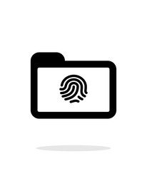 Folder with fingerprint icon on white background.