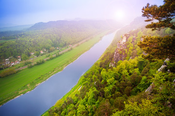 Elbe view from Bastei, Sachsische Schweiz
