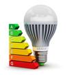 Leinwandbild Motiv LED lamp and energy efficiency rating scale