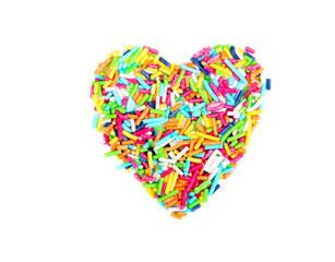 Sprinkles shaped as heart