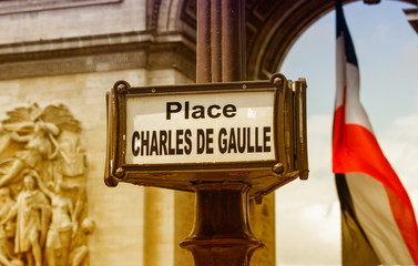 Place Charles de Gaulle sign in Paris