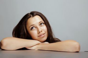 beauty young teenage brunette girl smiling close up