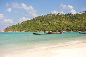 boats against the backdrop of tropical seascape, Thailand, Phang