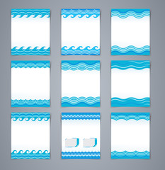 Vector set wavy layout brochures or poster, magazine cover