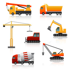 icon construction equipment  .crane, scoop, mixer with reflectio