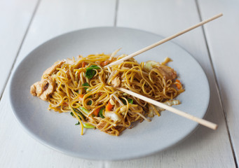 traditional Thai food, pad thai, noodles with vegetables and mea