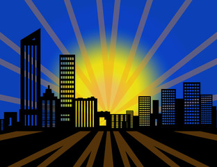 Beautiful abstract cityscape pop art