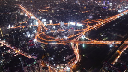4k Timelapse of Bangkok city night view with main traffic high w