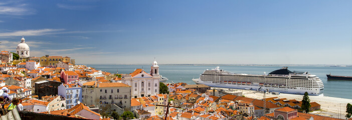 View of a big cruise ship docked in Lisbon, Portugal.