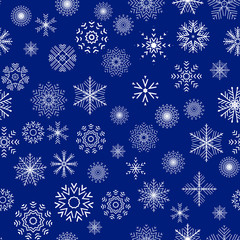 Christmas and New Year seamless blue pattern.