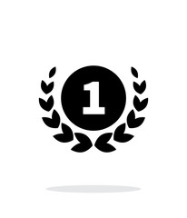 First place medal icon on white background.