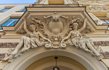 Caryatid figures of August Haertig Palace (1896) in Lodz, Poland