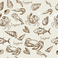 Hand drawn seafood pattern