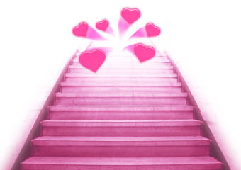 stairway going up to the hearts,isolate background