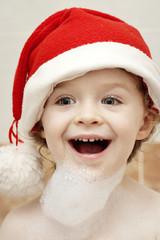 Little happy Santa with foam beard