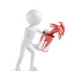 3D Mensch spritzt mit roter Farbe