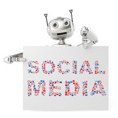 Roboter hält Social Media Schild