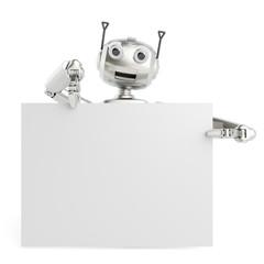 3D Roboter mit Schild