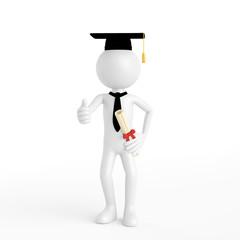 Doktorand als 3D Mensch bei Promotion hält Daumen hoch