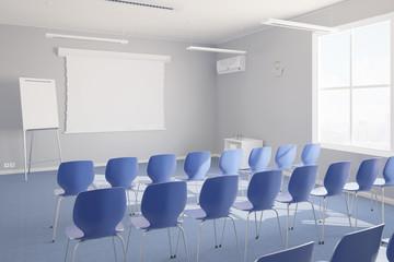 Leerer Seminarraum mit Stühlen für Präsentation