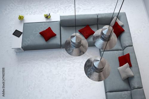 canvas print picture Blick auf Sofa durch Lampen an Decke