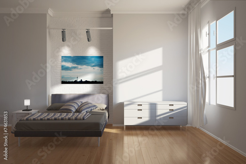 canvas print picture Hotel in Berlin mit Bett