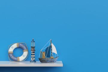 Souvenirs einer Kreuzfahrt auf Regal