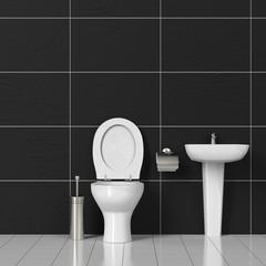 Toilette und Waschbecken im Bad