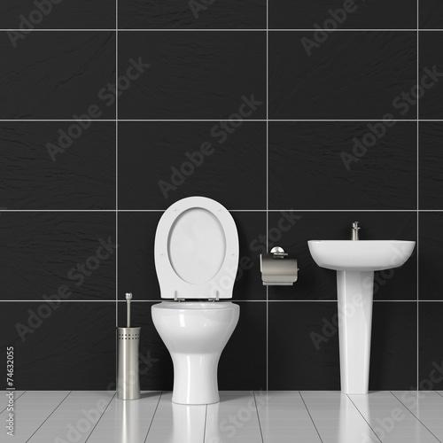 canvas print picture Toilette und Waschbecken im Bad