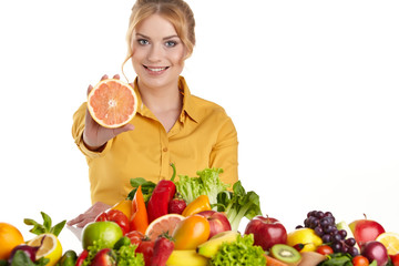 beautiful woman with healthy food
