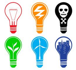 Set of six different light bulbs
