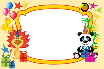 Cartoon animals frame