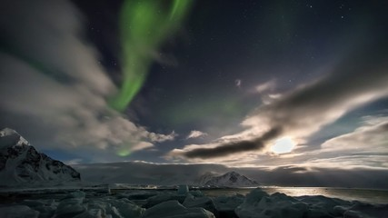 Beautiful Arctic landscape with Northern Lights - Spitsbergen