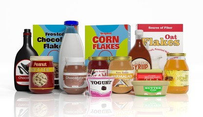 3D collection of packaged breakfast food