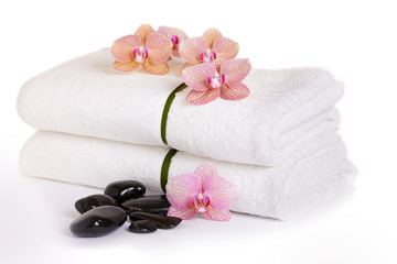 pink orchids and spa stones