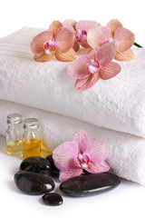 pink orchids, cosmetic oil and spa stones