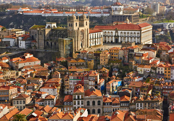 Roofs of old city and The Porto Cathedral (Se do Porto) in Porto