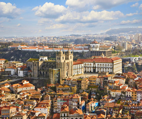 Roofs of old city and The Porto Cathedral in Porto