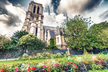 Beautiful spring view of Notre Dame in Paris