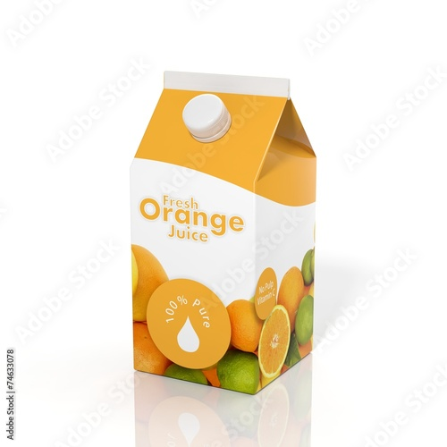 3D orange juice carton box isolated on white background - 74633078