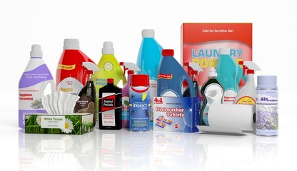 3D collection of household cleaning products