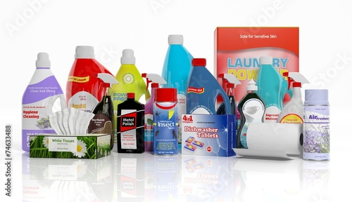 Leinwandbild Motiv 3D collection of household cleaning products