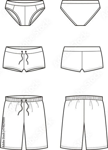 Vector illustration of men's swimming trunks
